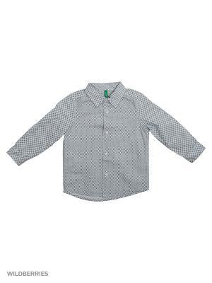 Рубашка United Colors of Benetton. Цвет: серый, серебристый, сиреневый