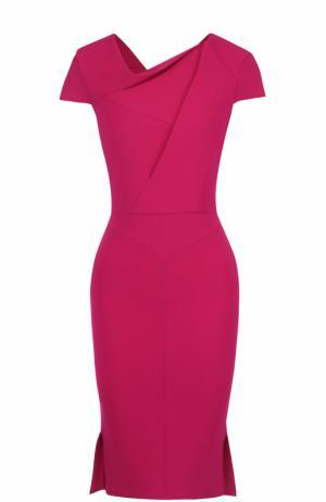 Платье-футляр с драпировкой и коротким рукавом Roland Mouret. Цвет: фуксия