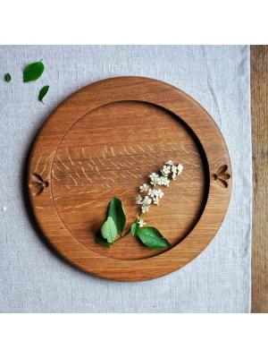 Тарелка деревянная Узор, (D26) На дубе том. Цвет: коричневый