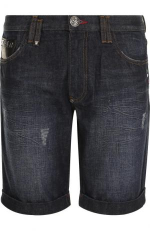 Джинсовые шорты с потертостями Philipp Plein. Цвет: темно-синий