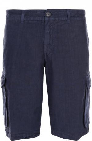 Льняные шорты с накладными карманами 120% Lino. Цвет: темно-синий