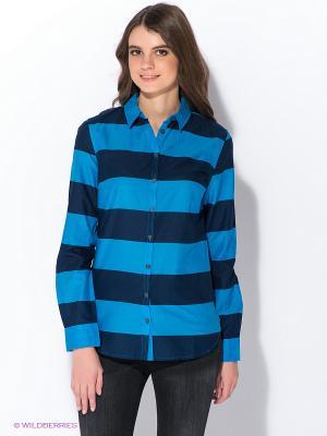 Рубашка Oodji. Цвет: темно-синий, синий