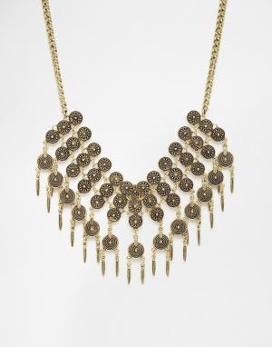 DesignB London Броское ожерелье с монетками. Цвет: золотой