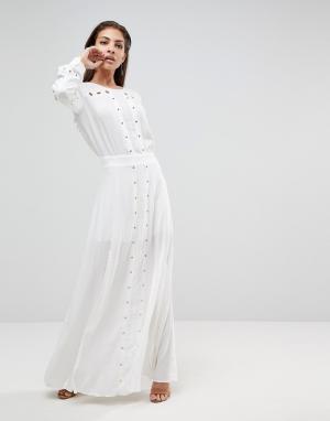 Finders Keepers Платье макси с разрезом Maddox. Цвет: белый