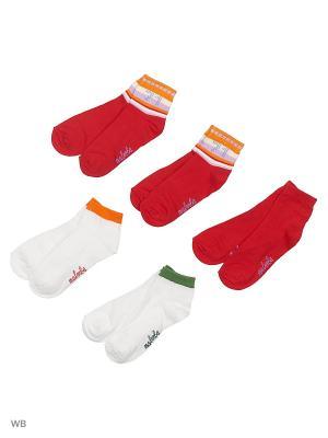Носки детские,комплект 5шт Malerba. Цвет: белый, красный