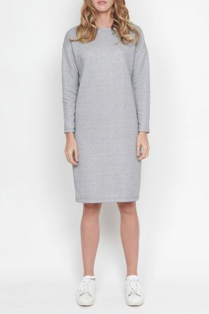 Свободное платье с длинными рукавами Lava. Цвет: серый меланж