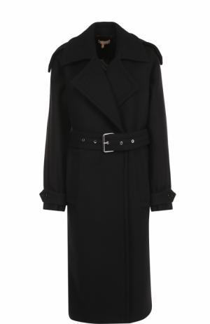 Шерстяное пальто с поясом Michael Kors. Цвет: черный