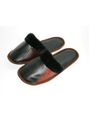 Тапочки из натурального меха и кожи Тефия. Цвет: черный, коричневый, терракотовый