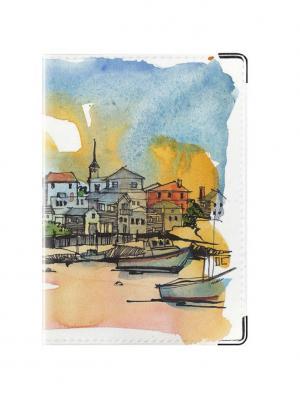 Обложка для паспорта Яхты Tina Bolotina. Цвет: серо-голубой, голубой, желтый