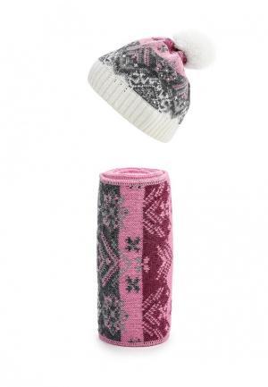 Комплект шапка и шарф Ferz. Цвет: розовый