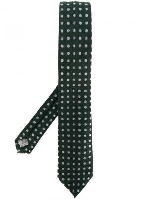 Трикотажный галстук в горошек Canali. Цвет: зелёный