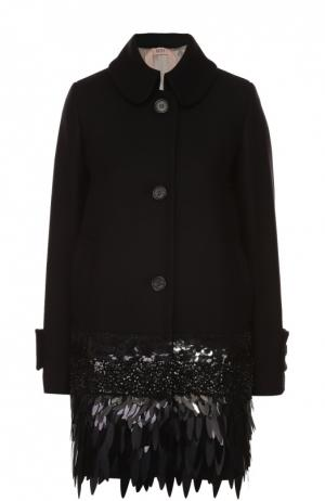 Пальто прямого кроя с отложным воротником и декоративной отделкой No. 21. Цвет: черный