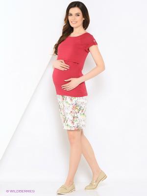 Футболка для беременных и кормления 40 недель. Цвет: бордовый