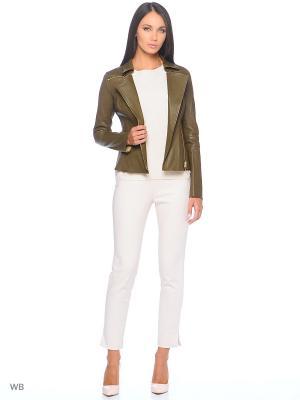Кожаная куртка SUSSEX. Цвет: оливковый
