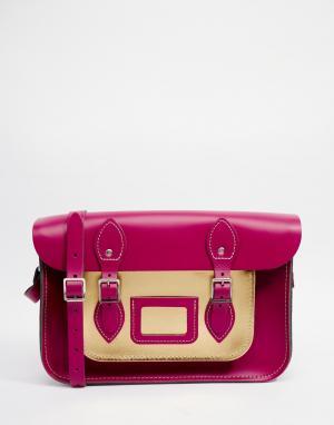 Leather Satchel Company Сумка сатчел с карманом металлик. Цвет: розовый