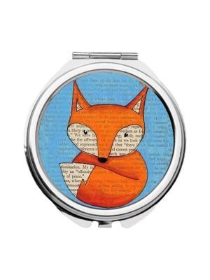 Зеркальце карманное Лисичка Chocopony. Цвет: голубой, оранжевый, серый