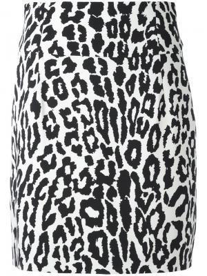 Юбка с леопардовым принтом Alexandre Vauthier. Цвет: чёрный