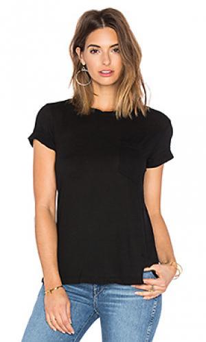 Драпированная футболка с карманом whisper Wilt. Цвет: черный