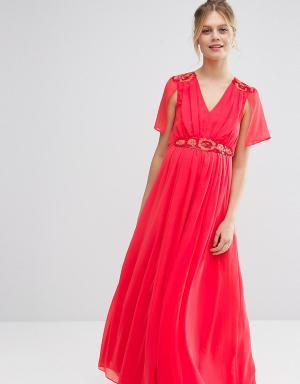 ASOS Maternity Платье макси для беременных с отделкой. Цвет: красный