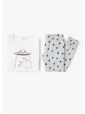 Пижама - SPACE Mango kids. Цвет: светло-серый