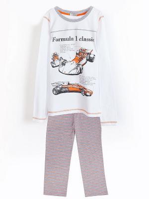 Комплект пижамный INCITY. Цвет: белый, серый, оранжевый