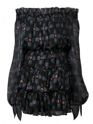 Платье с открытыми плечаит Caroline Constas. Цвет: чёрный