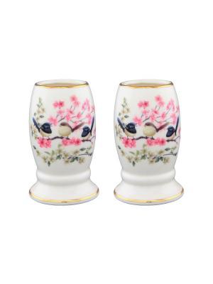Набор из двух вазочек под зубочистки Райские птички Elan Gallery. Цвет: розовый, белый, зеленый