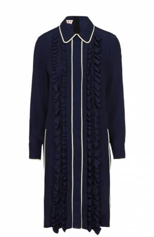Платье-рубашка прямого кроя с оборками Marni. Цвет: синий