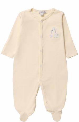 Хлопковая пижама с нашивкой Kissy. Цвет: желтый