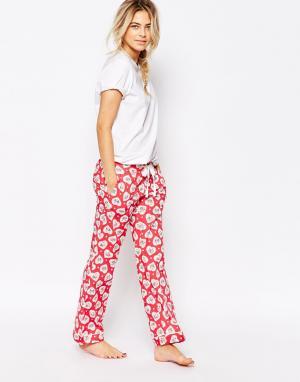 Cath Kidston Пижамные штаны с принтом. Цвет: красный