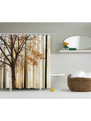 Фотоштора для ванной Клён в золотом лесу, 180*200 см Magic Lady. Цвет: коричневый, бежевый, оранжевый, синий, черный