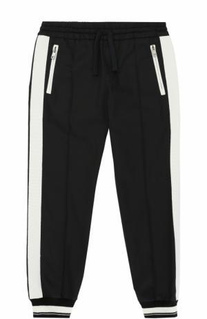 Джоггеры с контрастными манжетами и лампасами Dolce & Gabbana. Цвет: черный