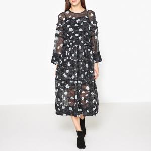 Платье с рисунком небольшой плиссировкой и воланами CARVEN. Цвет: черный