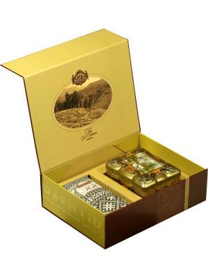 Подарочный набор цейлонского чай Basilur Чайный подарок (Ларец Янтарь и Фолк: Черное Белое). Цвет: бирюзовый, бордовый, бронзовый