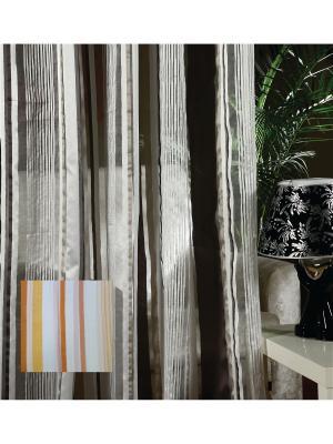 Тюль, органза Оранжевые полоски, 300*275 см Ambesonne. Цвет: белый, оранжевый