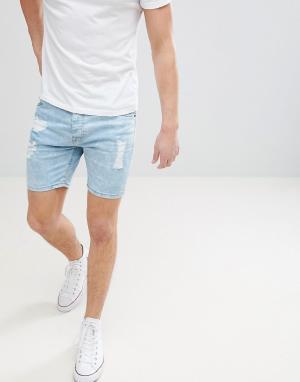 Brave Soul Светлые джинсовые шорты с рваной отделкой. Цвет: синий