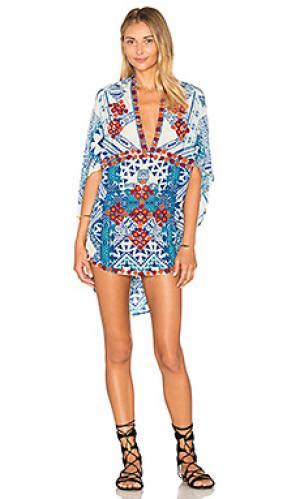Платье в восточном стиле с глубоким v-образным вырезом HEMANT AND NANDITA. Цвет: синий