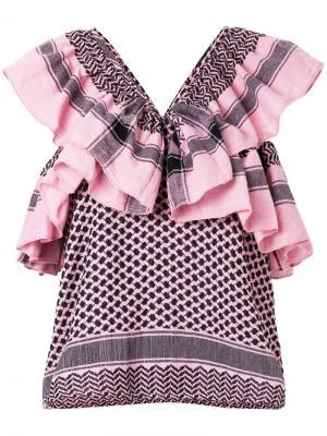 Топ с оборкой и узором Cecilie Copenhagen. Цвет: розовый и фиолетовый