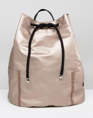 ASOS Большая сумка дафл с затягивающимися шнурками. Цвет: бежевый