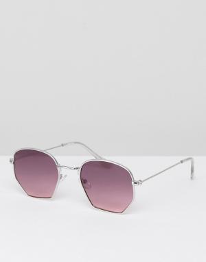 ASOS Солнцезащитные очки в серебристой оправе с фиолетовыми стеклами. Цвет: серебряный