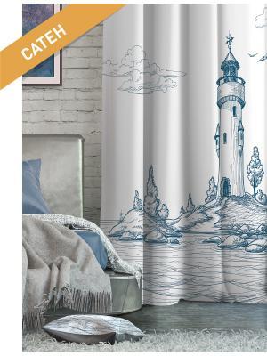 Штора (1шт.) Волшебная ночь 150см*270см, ткань-Сатен,  стиль-ЛОФТ, OCEAN. Цвет: белый, синий