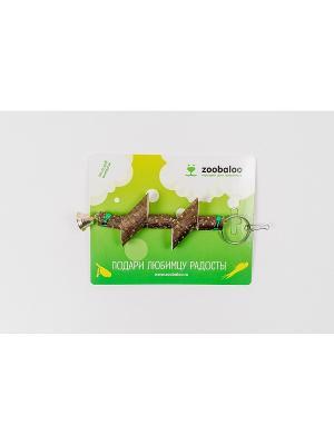 Игрушка для птиц Деревянные брусочки на цепи с хлопковым шнуром 25см Zoobaloo. Цвет: коричневый