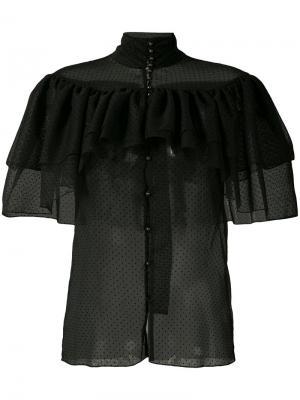 Прозрачная рубашка с оборками Rodarte. Цвет: чёрный