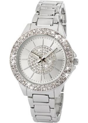 Часы со сверкающим циферблатом (серебристый) bonprix. Цвет: серебристый