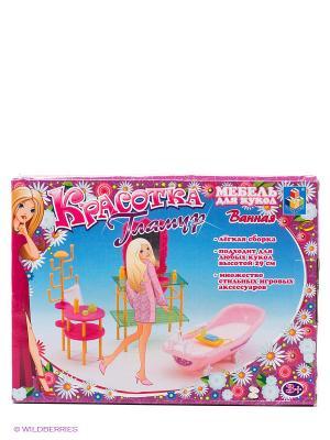 Набор мебели для кукол Гламур - ванная 1Toy. Цвет: розовый