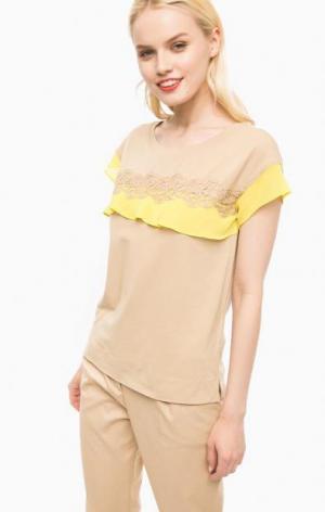 Хлопковая футболка с короткими рукавами Liu Jo. Цвет: бежевый