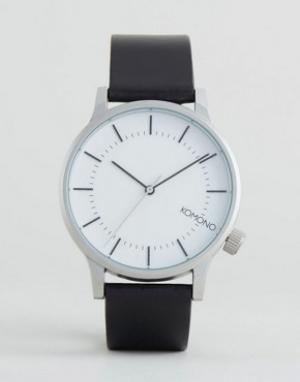 Komono Серебристые часы с черным кожаным ремешком Winston Regal. Цвет: черный