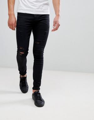 Sixth June Черные рваные джинсы обтягивающего кроя. Цвет: черный