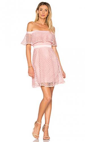 Кружевное платье с открытыми плечами Bardot. Цвет: розовый