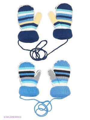 Варежки (2 пары) FOMAS. Цвет: синий, голубой, белый
